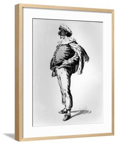 Polichinelle, Depicted in the Stage Costume of 1685, 1860 (Litho)-Maurice Sand-Framed Art Print