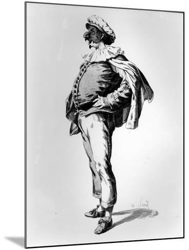 Polichinelle, Depicted in the Stage Costume of 1685, 1860 (Litho)-Maurice Sand-Mounted Giclee Print