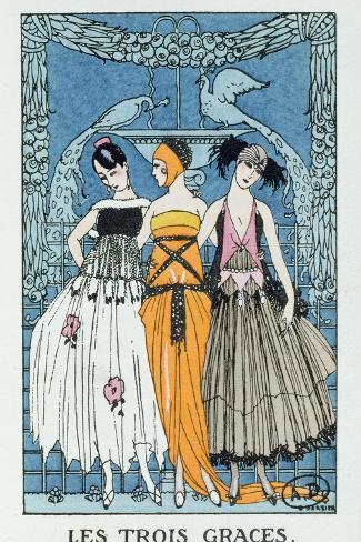 Les Trois Graces, 1918 (Colour Litho)-Georges Barbier-Stretched Canvas Print