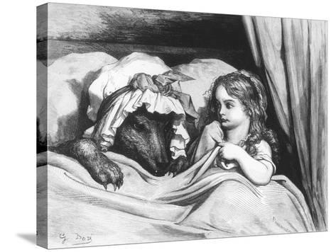 Little Red Riding Hood and the Wolf', Illustration from 'Les Contes De Perrault'-Gustave Dor?-Stretched Canvas Print