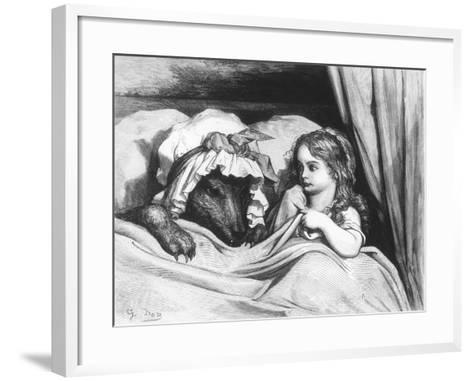 Little Red Riding Hood and the Wolf', Illustration from 'Les Contes De Perrault'-Gustave Dor?-Framed Art Print