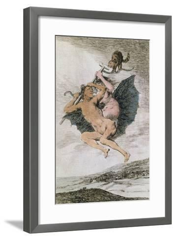Alla Va Eso (There it Goes), Plate 66 of 'Los Caprichos', Late 18th (Colour Engraving)-Francisco de Goya-Framed Art Print