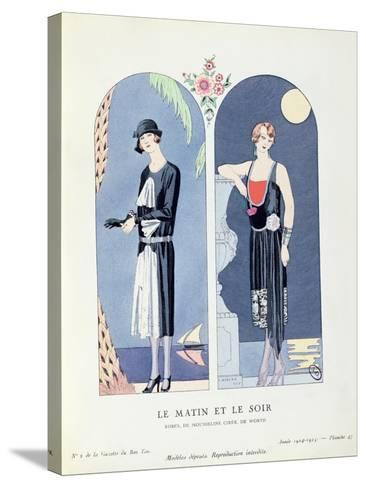 Day and Night, Plate 47 from 'La Gazette Du Bon Ton' Depicting Day and Evening Dresses, 1924-25-Georges Barbier-Stretched Canvas Print