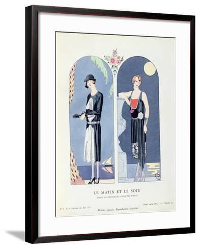 Day and Night, Plate 47 from 'La Gazette Du Bon Ton' Depicting Day and Evening Dresses, 1924-25-Georges Barbier-Framed Art Print