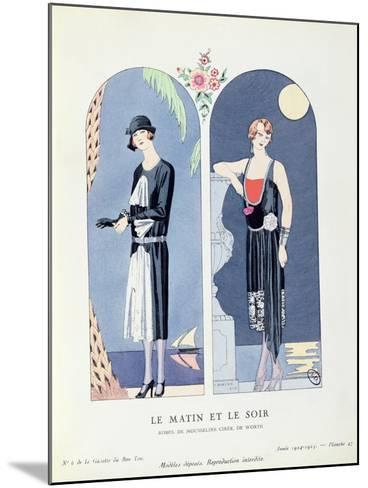 Day and Night, Plate 47 from 'La Gazette Du Bon Ton' Depicting Day and Evening Dresses, 1924-25-Georges Barbier-Mounted Giclee Print