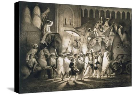 Delhi: Cortege and Retinue of the Great Moghul, from 'Voyages in India', 1859 (Litho)-A. Soltykoff-Stretched Canvas Print