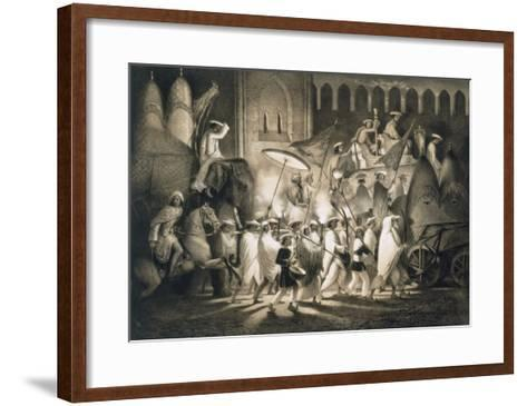 Delhi: Cortege and Retinue of the Great Moghul, from 'Voyages in India', 1859 (Litho)-A. Soltykoff-Framed Art Print