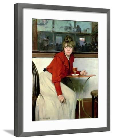 Chica in a Bar, 1892-Ramon Casas i Carbo-Framed Art Print