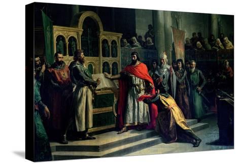 The Oath of Santa Gadea, El Cid Campeador (C.1043-99) Extracts Oath from Alfonso VI (C.1040-1109)-Marcos Hiraldez De Acosta-Stretched Canvas Print