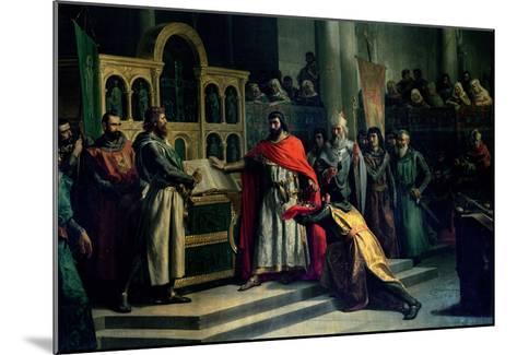 The Oath of Santa Gadea, El Cid Campeador (C.1043-99) Extracts Oath from Alfonso VI (C.1040-1109)-Marcos Hiraldez De Acosta-Mounted Giclee Print