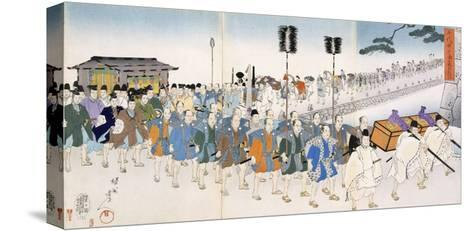 Samurai Warriors on the March (Colour Woodblock Print)-Japanese-Stretched Canvas Print
