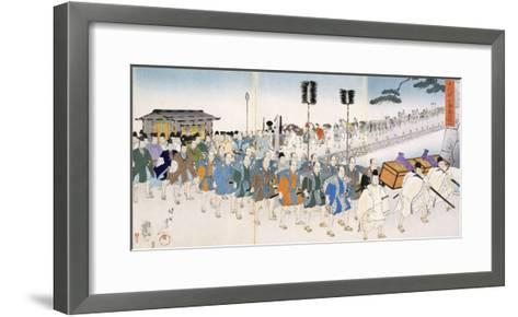 Samurai Warriors on the March (Colour Woodblock Print)-Japanese-Framed Art Print
