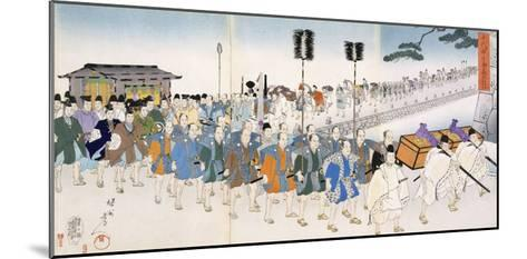 Samurai Warriors on the March (Colour Woodblock Print)-Japanese-Mounted Giclee Print