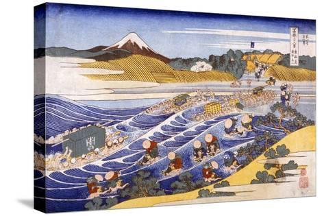 Fuji from the Ford at Kanaya (Colour Woodblock Print)-Katsushika Hokusai-Stretched Canvas Print