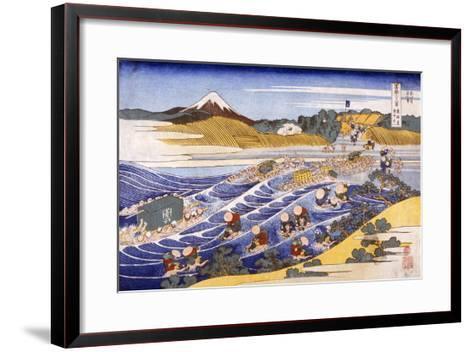 Fuji from the Ford at Kanaya (Colour Woodblock Print)-Katsushika Hokusai-Framed Art Print