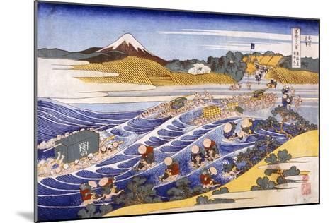 Fuji from the Ford at Kanaya (Colour Woodblock Print)-Katsushika Hokusai-Mounted Giclee Print