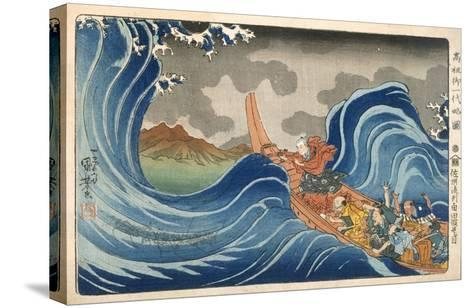 Boat and Waves (Colour Woodblock Print)-Japanese-Stretched Canvas Print