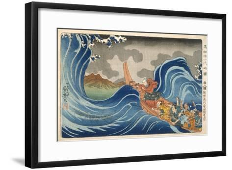 Boat and Waves (Colour Woodblock Print)-Japanese-Framed Art Print
