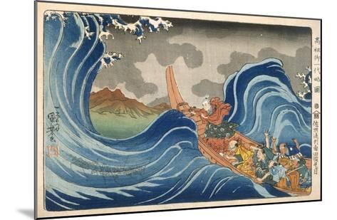 Boat and Waves (Colour Woodblock Print)-Japanese-Mounted Giclee Print