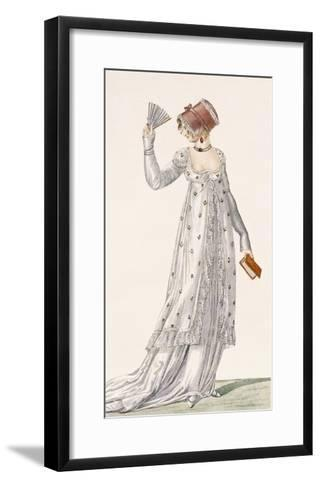 Ladies Evening Dress, Fashion Plate from Ackermann's Repository of Arts, Pub. 1814-English-Framed Art Print