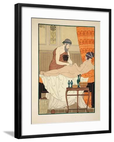 Application of White Egyptian Perfume to the Hip, Illustration from 'The Works of Hippocrates' 1934-Joseph Kuhn-Regnier-Framed Art Print