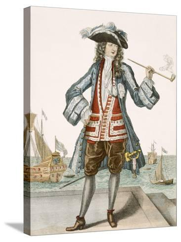 Captain Jean Bart of Dunkerque (Coloured Engraving)-French-Stretched Canvas Print