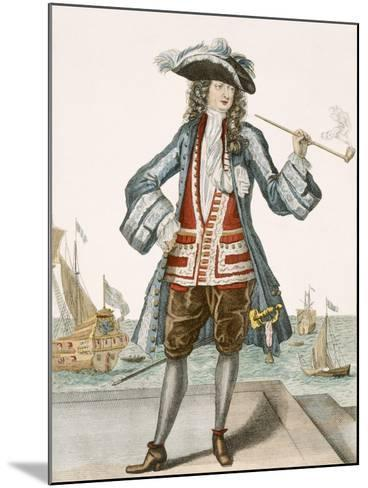 Captain Jean Bart of Dunkerque (Coloured Engraving)-French-Mounted Giclee Print