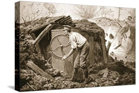 Private Torrance Pumping Air into a Mine under Heavy Fire (Litho)-Alfred Pearse-Stretched Canvas Print