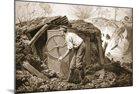 Private Torrance Pumping Air into a Mine under Heavy Fire (Litho)-Alfred Pearse-Mounted Giclee Print