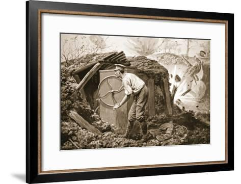 Private Torrance Pumping Air into a Mine under Heavy Fire (Litho)-Alfred Pearse-Framed Art Print