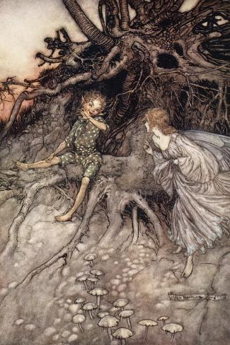 I Am That Merry Wanderer of the Night, Illustration from 'Midsummer Nights Dream'-Arthur Rackham-Stretched Canvas Print