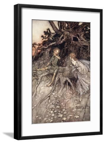 I Am That Merry Wanderer of the Night, Illustration from 'Midsummer Nights Dream'-Arthur Rackham-Framed Art Print