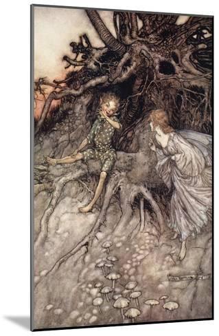 I Am That Merry Wanderer of the Night, Illustration from 'Midsummer Nights Dream'-Arthur Rackham-Mounted Giclee Print