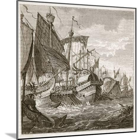The Naval Battle Off Cape Pelorus (Litho)-English-Mounted Giclee Print