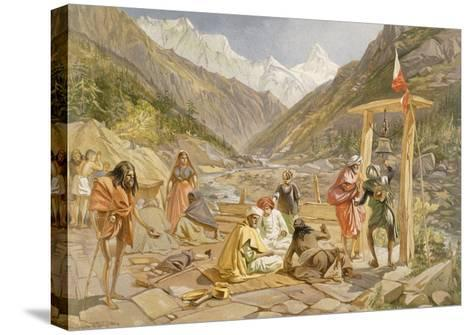 Pilgrims at Gangootree, from 'India Ancient and Modern', 1867 (Colour Litho)-William 'Crimea' Simpson-Stretched Canvas Print