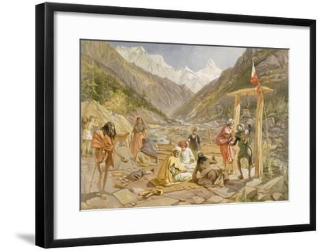 Pilgrims at Gangootree, from 'India Ancient and Modern', 1867 (Colour Litho)-William 'Crimea' Simpson-Framed Art Print