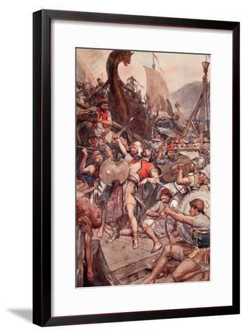 Death of the Persian Admiral at Salamis, Illustration from 'Plutarch's Lives for Boys and Girls'-William Rainey-Framed Art Print
