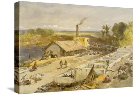 Indigo Factory - Bengal, from 'India Ancient and Modern', 1867 (Colour Litho)-William 'Crimea' Simpson-Stretched Canvas Print