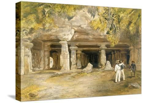 The Cave of Elephanta, from 'India Ancient and Modern', 1867 (Colour Litho)-William 'Crimea' Simpson-Stretched Canvas Print