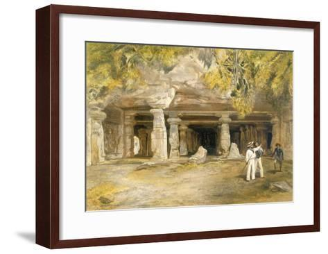 The Cave of Elephanta, from 'India Ancient and Modern', 1867 (Colour Litho)-William 'Crimea' Simpson-Framed Art Print