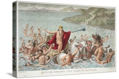 Neptune Calming the Waves, Book I, Illustration from Ovid's Metamorphoses, Florence, 1832-Luigi Ademollo-Stretched Canvas Print