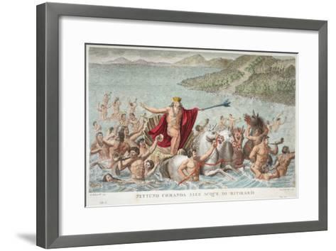 Neptune Calming the Waves, Book I, Illustration from Ovid's Metamorphoses, Florence, 1832-Luigi Ademollo-Framed Art Print