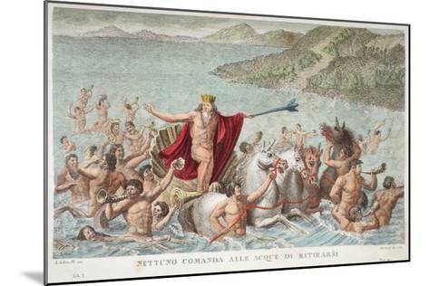 Neptune Calming the Waves, Book I, Illustration from Ovid's Metamorphoses, Florence, 1832-Luigi Ademollo-Mounted Giclee Print
