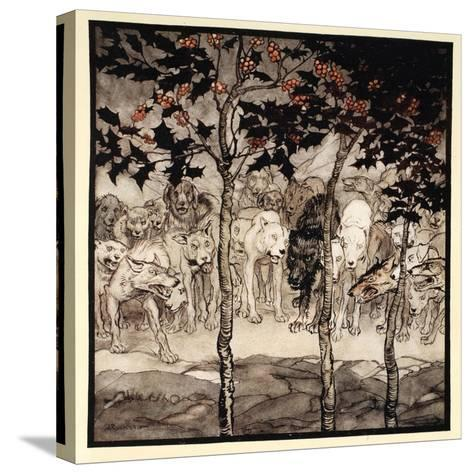 They Stood Outside, Filled with Savagery and Terror, Illustration from 'Irish Fairy Tales'-Arthur Rackham-Stretched Canvas Print
