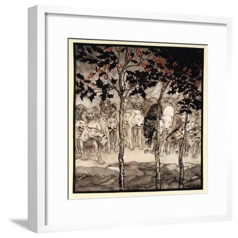 They Stood Outside, Filled with Savagery and Terror, Illustration from 'Irish Fairy Tales'-Arthur Rackham-Framed Art Print