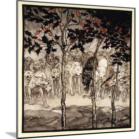 They Stood Outside, Filled with Savagery and Terror, Illustration from 'Irish Fairy Tales'-Arthur Rackham-Mounted Giclee Print