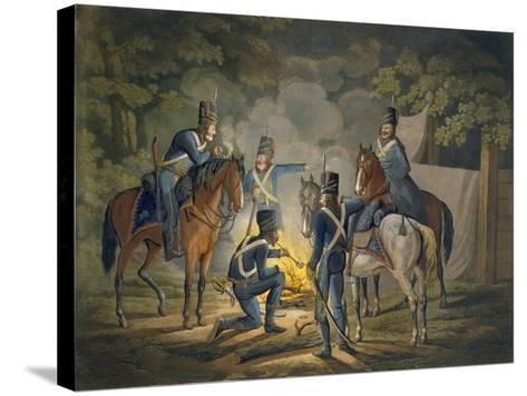 Prussian Hussars on a Night Picket, C.1799-1802 (Colour Litho)-Conrad Gessner-Stretched Canvas Print