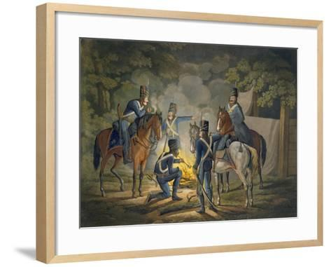 Prussian Hussars on a Night Picket, C.1799-1802 (Colour Litho)-Conrad Gessner-Framed Art Print