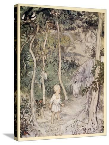 He Might Think, as a Stared on a Staring Horse, 'A Boy Cannot Wag His Tail to Keep the Flies Off'-Arthur Rackham-Stretched Canvas Print