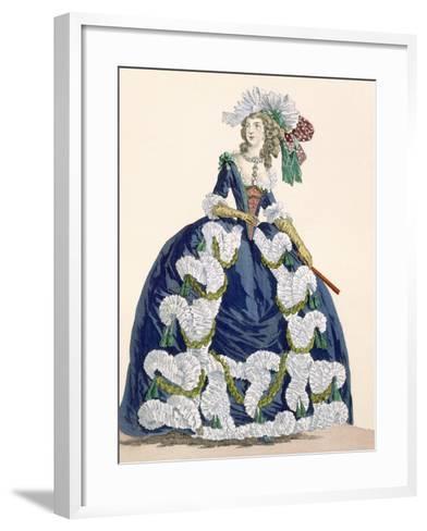 Elaborate Royal Court Dress in Navy Blue with Luxuriant White Frill Design-Augustin De Saint-aubin-Framed Art Print